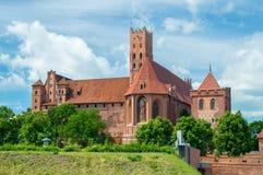 rockera befläckte sikten för borggårdEuropa den glass gotiska mest stora malbork poland royaltyfri fotografi