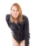 Rockerbaby mit Lederjacke Lizenzfreies Stockfoto