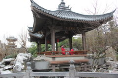 The rockeries and pavilion in the GUILIN Lingqu park Royalty Free Stock Photos