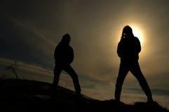 rockers σκοταδιού σκιαγραφία Στοκ Εικόνα