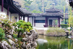 The rockery and ancient buildings royalty free stock photos