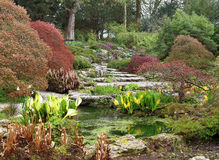 Rockery area in an English garden Stock Photo