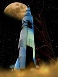 Rocket к луне иллюстрация вектора