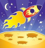 Rocket. A red rocket orbiting a yellow planet Royalty Free Stock Image