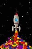 Rocket. Cartoon rocket spreading color in space, graphic art wallpaper Royalty Free Stock Image