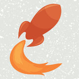 Rocket. Red glossy rocket, flying with fire, vector illustration Vector Illustration