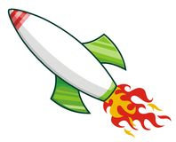 Rocket. Fly and emits flames Stock Photo