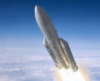 Rocket. Launch of the carrier rocket. 3d image Royalty Free Stock Images