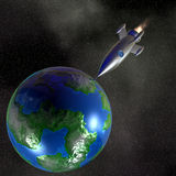 Rocket. 3D rendering of a Rocket bashing a planet Stock Photo