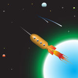 Rocket. Abstract colorful illustration with rocket flying away from earth with high speed royalty free illustration