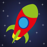 Rocket. Abstract toy rocket on abstract blue night background Royalty Free Stock Image