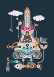 Rocket - abstract vector illustration Stock Photography