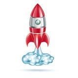 Rocket aisló en el fondo blanco con el rastro ilustración del vector