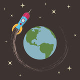 Rocket around the earth Royalty Free Stock Image