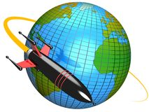 Rocket around the Earth. 3D illustration of a rocket orbiting around the Earth representing technology, science, conquest of space, speed, travel and Royalty Free Stock Image