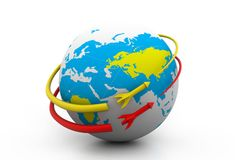 Rocket around the globe Royalty Free Stock Photo