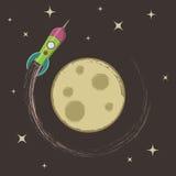 Rocket around the moon Stock Photography