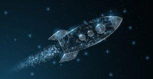 Rocket Arte poligonale della maglia del wireframe Partenza di affari, astronomia, illustrazione di concetto dell'innovazione o fo Fotografia Stock