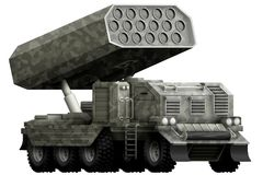 Rocket artillery, missile launcher with grey camouflage with fictional design - isolated object on white background. 3d illustrati. Rocket artillery, missile Royalty Free Stock Photography