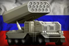 Rocket artillery, missile launcher on the Russia national flag background. 3d Illustration. Rocket artillery, missile launcher on the Russia flag background. 3d Stock Photos