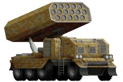 Rocket artillery, missile launcher with sand camouflage with fictional design - isolated object on white background. 3d illustrati. Rocket artillery, missile Stock Image