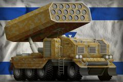 Rocket artillery, missile launcher with sand camouflage on the Israel national flag background. 3d Illustration. Rocket artillery, missile launcher with sand Royalty Free Stock Photo