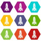 Rocket astronomy icons set 9. Rocket astronomy icons 9 set coloful isolated on white for web royalty free illustration