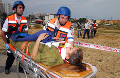 Rocket Attack Simulation Drill. ASHKELON, ISR - APR 09:Emergency forces are taking part in a drill to simulate a rocket attack on  April 9, 2008.Since 2001 Stock Images