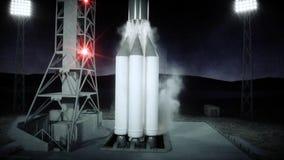 Rocket avant le début Système de lancement de l'espace rendu 3d Photographie stock libre de droits