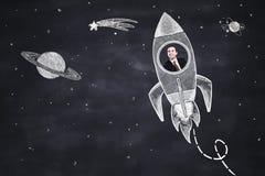 Rocket avec l'homme d'affaires Image stock