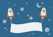 Rocket avec la bannière Images libres de droits