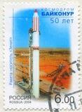 Rocket at Baikonur Cosmodrome. RUSSIA - CIRCA 2004: stamp printed by Russia, shows Zenit rocket at Baikonur Cosmodrome, circa 2004 stock images