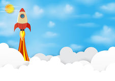 Rocket into blue sky. Business startup concept.Vector illustration Royalty Free Stock Photo
