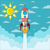 Rocket on the blue sky, vector illustration Royalty Free Stock Images
