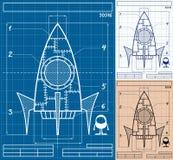 Rocket Blueprint Cartoon stock illustrationer