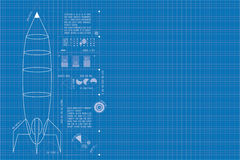 Rocket Blueprint (vertical) Royalty Free Stock Images