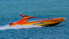 Rocket Boat. San Francisco, CA, USA - May 21, 2016: Tourist attraction and thrill ride on the San Francisco Bay, Rocket Boat propels riders at 60 miles per hour royalty free stock photos