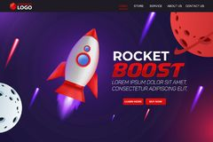 Free Rocket Boost Website Landing Page Vector Template Design Royalty Free Stock Image - 164534086