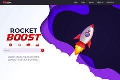 Free Rocket Boost Website Landing Page Vector Template Design Stock Photos - 164534353