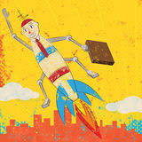 Rocket Boy. A rocket boy with a new business is blasting off over the city Royalty Free Stock Images