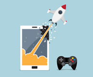 Rocket breaking through from mobile, smartphone screen. Mobile, smartphone gaming application concept, rocket breaking through from mobile, smartphone screen stock illustration