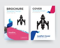 Rocket brochure flyer design template. With abstract photo background, minimalist trend business corporate roll up or annual report Stock Photo