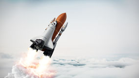 Rocket carrying space shuttle launches off. 3D illustration royalty free illustration