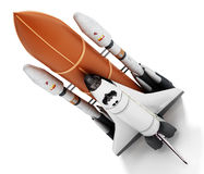 Rocket carrying space shuttle launches off. 3D illustration stock illustration