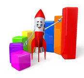 Rocket character with business graph Stock Image