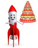 Rocket character with cake Royalty Free Stock Photography