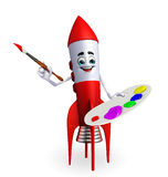 Rocket character with color plate Stock Photo