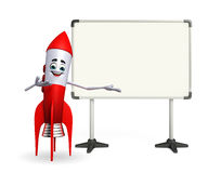 Rocket character with display board Stock Photo
