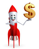 Rocket character with dollar sign Royalty Free Stock Photos
