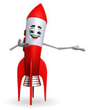 Rocket character with happy pose Royalty Free Stock Images